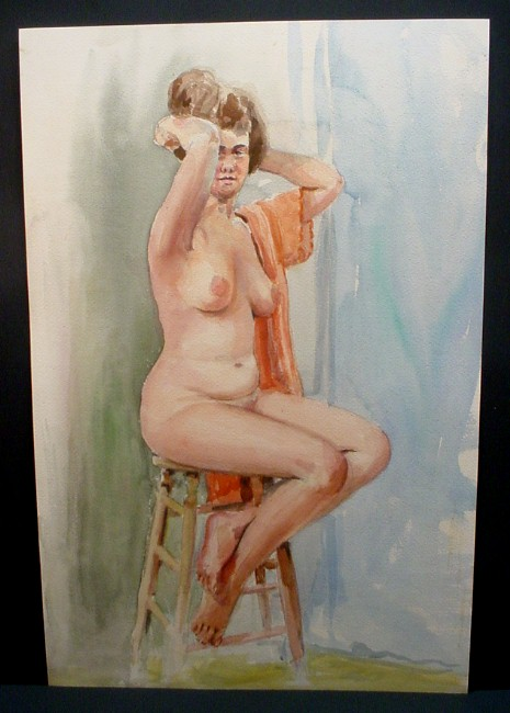 brown-haired woman on stool