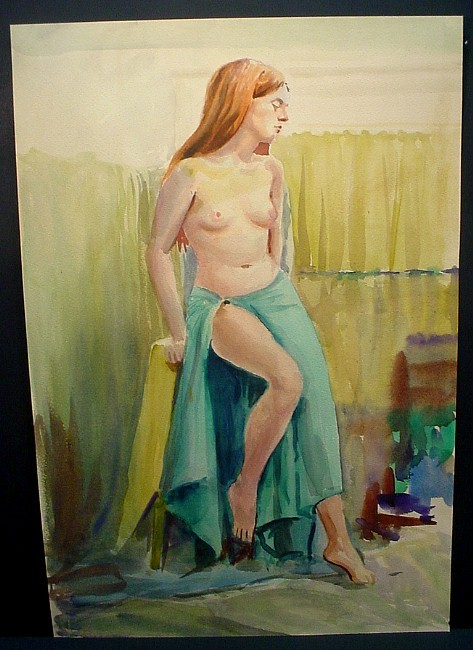 red-haired woman in sarong
