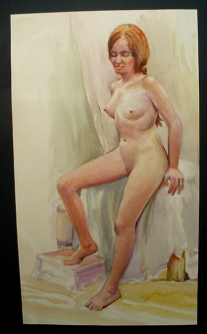red-haired woman leaning