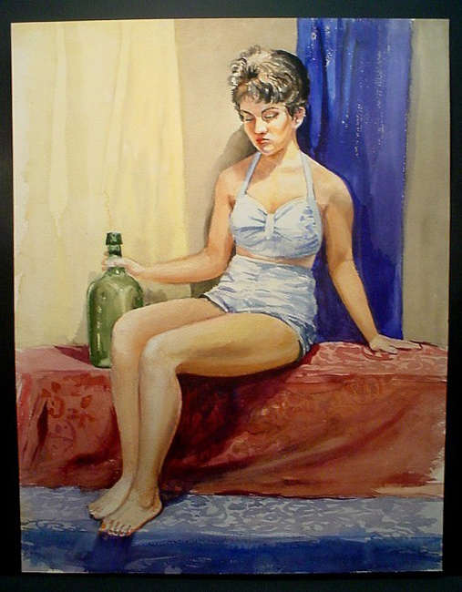 short-haired woman with bottle