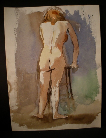 red-haired woman leaning on stool