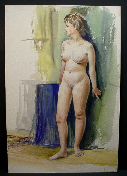 dark-haired woman standing