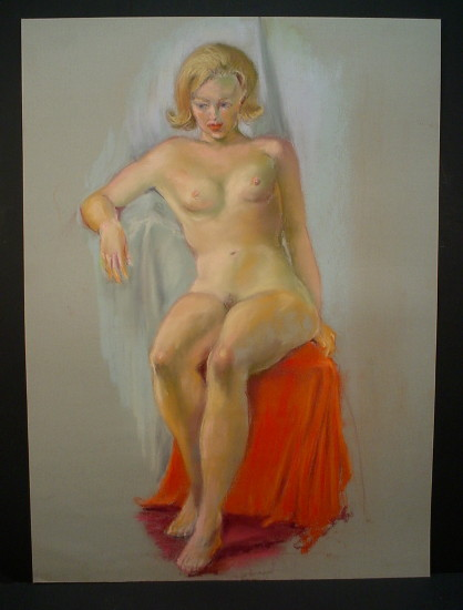 blonde woman sitting