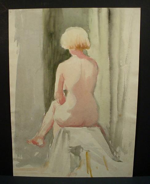 blonde woman sitting