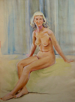 blonde woman on bed (1930s)