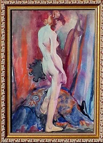 WR Watkins decorative nude standing c.1930s