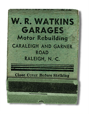 WR Watkins matchbook