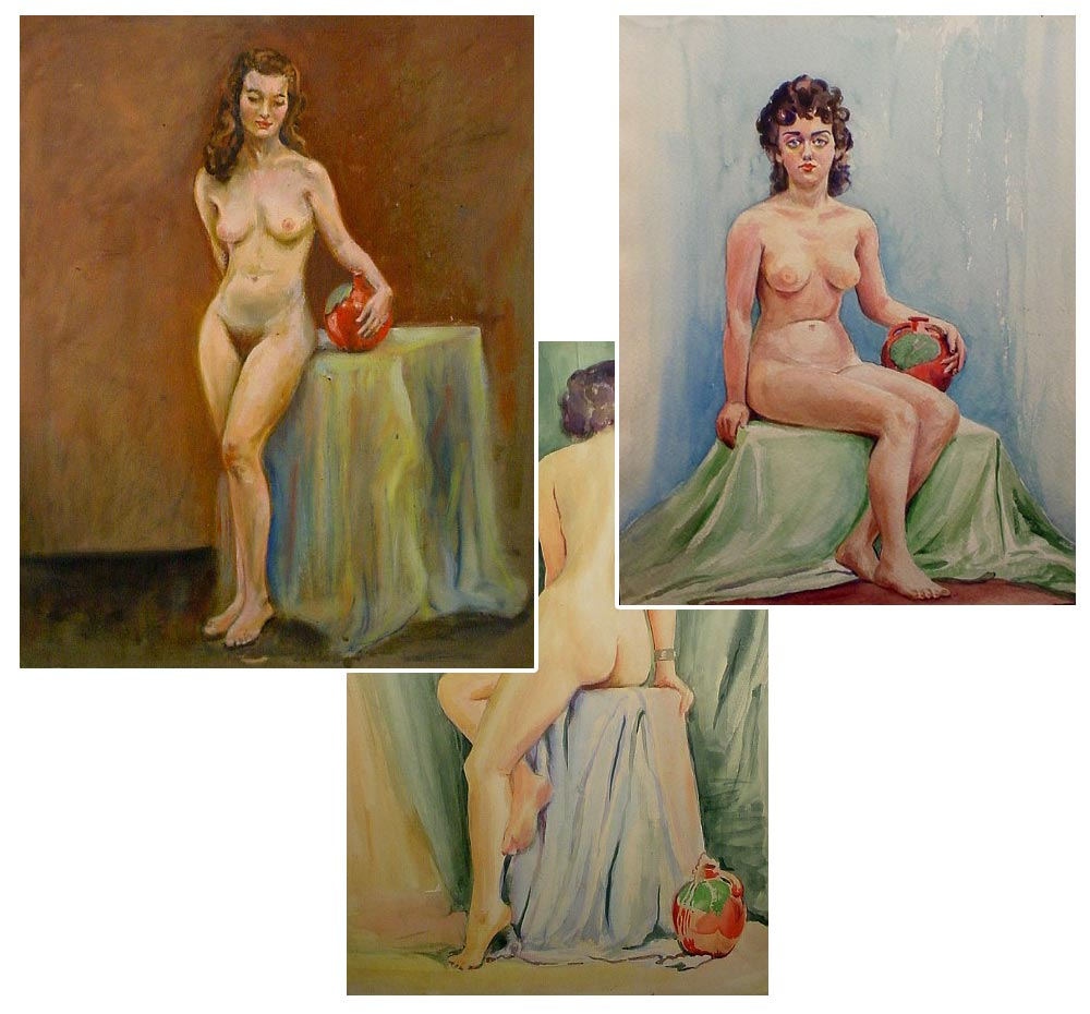 three paintings with pottery