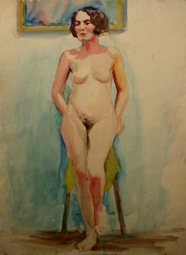 WR Watkins standing nude c.1920s