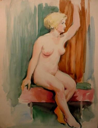 WR Watkins sitting nude 1920s