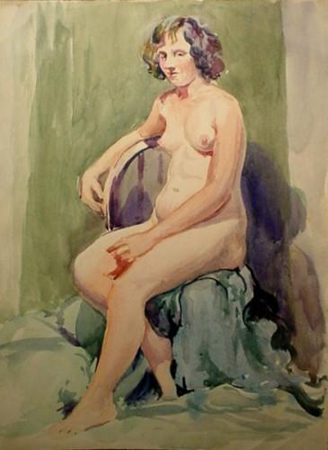 WR Watkins sitting nude c.1920s