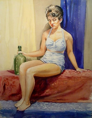 WR Watkins woman with bottle