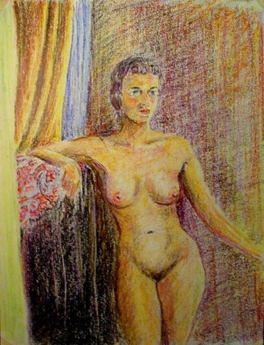 WR Watkins nude with cane (crayon)