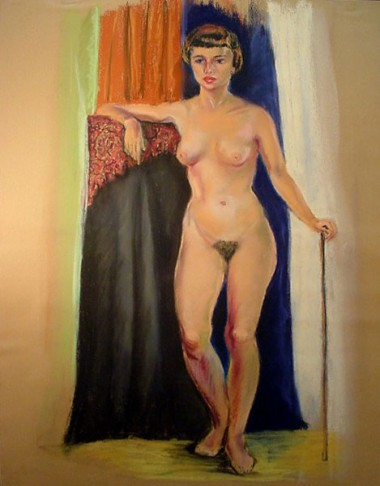 WR Watkins nude with cane (pastel)