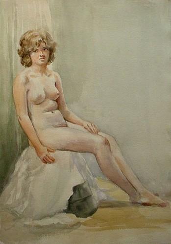 WR Watkins nude sitting c1950s