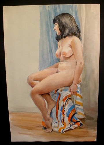 WR Watkins dark-haired woman on stool c.1960s