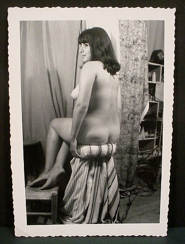 WR Watkins snapshot of dark-haired model on stool c.1960s
