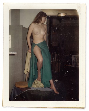 WR Watkins polaroid of model in green sarong