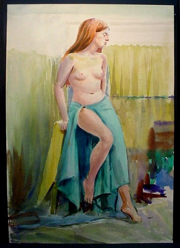 WR Watkins red-haired woman in green sarong c1950s