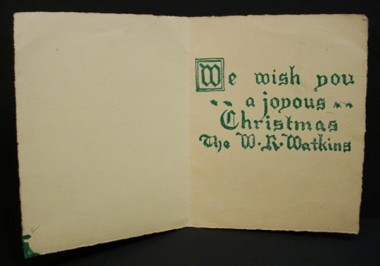 WR Watkins woodcut Christmas card 1930s