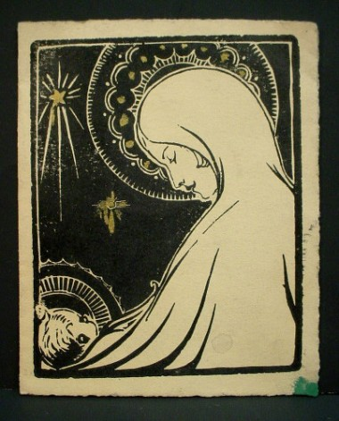 WR Watkins woodcut Christmas card c.1930s