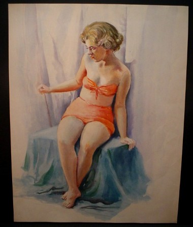 WR Watkins blonde in red bathingsuit c.1940s