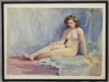 WR Watkins seated nude (signed)