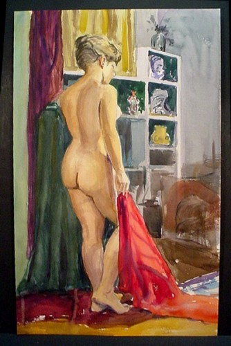 WRWatkins standing blonde watercolor c.1950